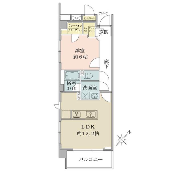 ブリリア二子多摩川idの間取図/3F/3,880万円/1LDK/46.91 m²