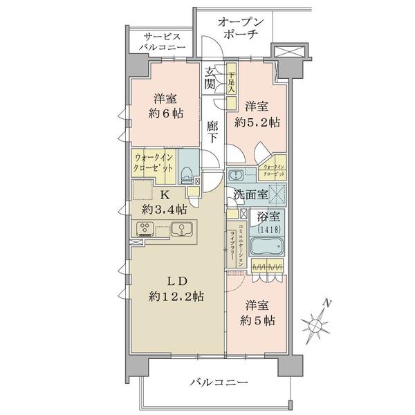 ブリリア都筑ふれあいの丘の間取図/2F/5,650万円/3LDK+WIC/72.39 m²