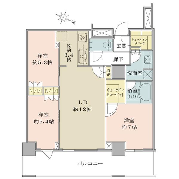 ザ・コスギタワーの間取図/47F/7,180万円/3LDK/74.71 m²