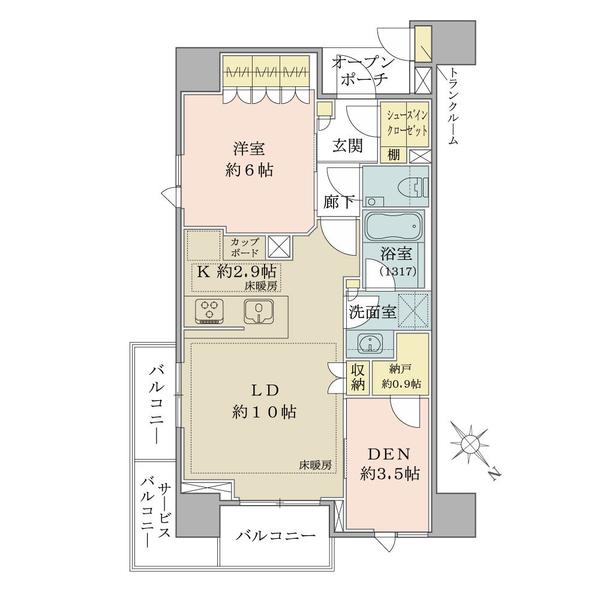 ブリリア ザ・レジデンス 東京八重洲 アベニューの間取図/11F/7,400万円/1LDK+DEN/54.59 m²