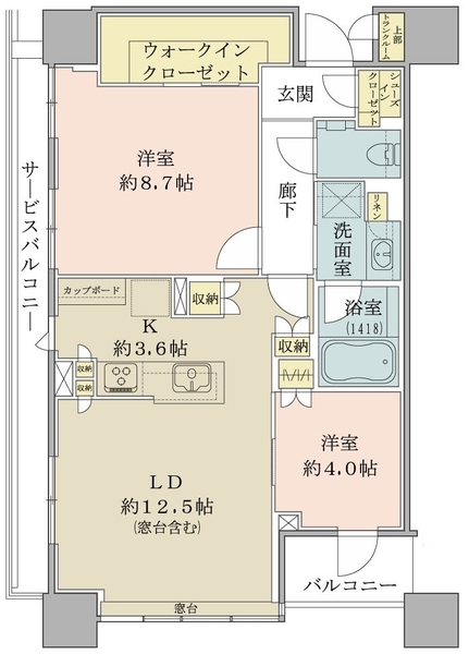 ブリリアタワーズ目黒 ノースレジデンスの間取図/26F/12,970万円/3LDK+SIC/68.84 m²