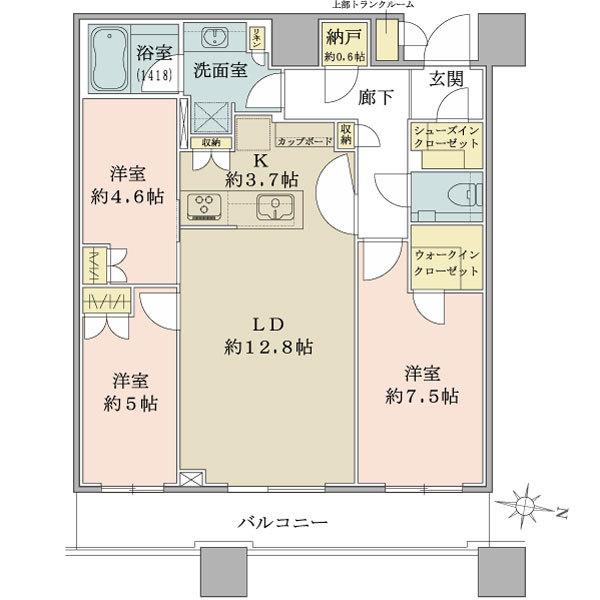 ブリリアタワーズ目黒ノースレジデンスの間取図/37F/15,300万円/3LDK+SIC+WIC/79.58 m²