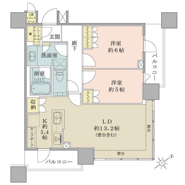 ブリリアタワーズ目黒 サウスレジデンスの間取図/3F/13,600万円/2LDK+SIC/64.4 m²