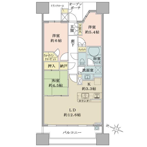 ブリリア大島小松川公園の間取図/6F/4,480万円/3LDK+WIC+N/70.59 m²