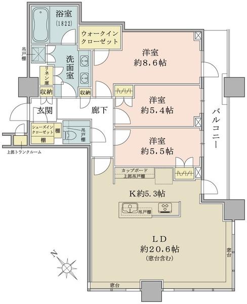 ブリリアタワーズ目黒ノースレシデンスの間取図/35F/28,600万円/3LDK/103.55 m²