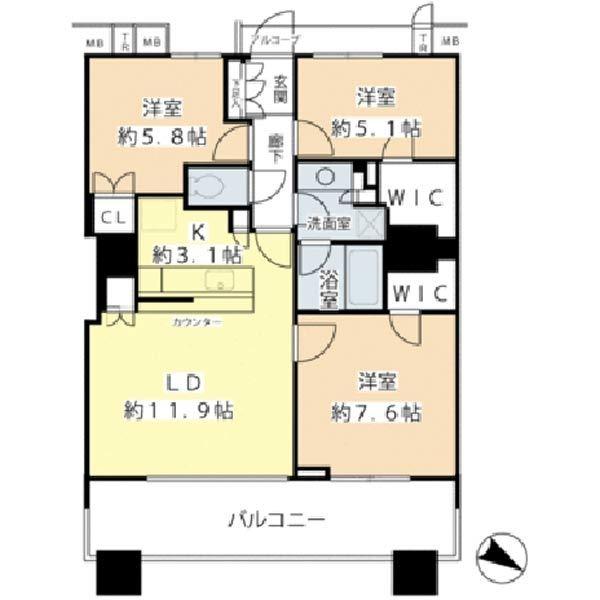 ブリリアマーレ有明タワー&ガーデンの間取図/3F/5,390万円/3LDK/75.54 m²