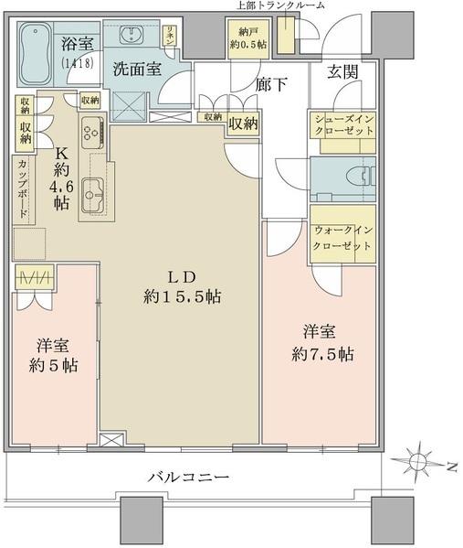 ブリリアタワーズ目黒 ノースレジデンスの間取図/39F/18,330万円/2LDK+WIC+SIC/79.58 m²
