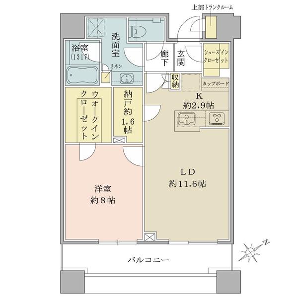 ブリリアタワーズ目黒 ノースレジデンスの間取図/30F/12,550万円/1LDK+WIC+SIC/59.8 m²