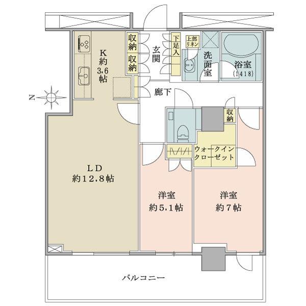 ブリリアタワー大崎の間取図/12F/6,200万円/2LDK+WIC/70.25 m²