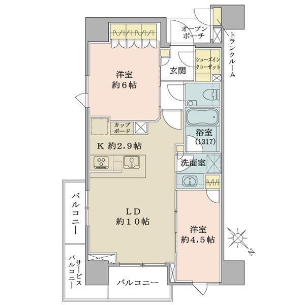 ブリリア ザ・レジデンス 東京八重洲アヴェニューの間取図/7F/6,680万円/2LDK+SIC+TR/54.59 m²