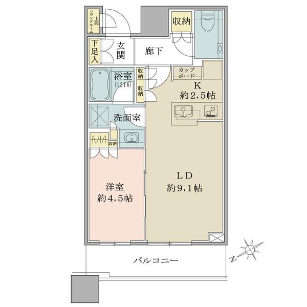ブリリアタワーズ目黒 サウスレジデンスの間取図/8F/6,980万円/1LDK/41.08 m²