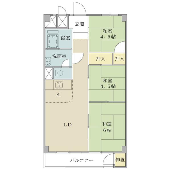 弦巻ハイツの間取図/8F/2,950万円/3DK/54.82 m²