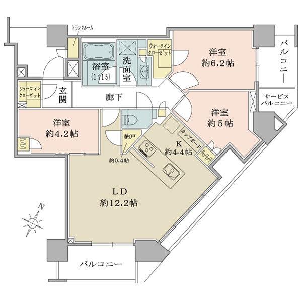 ブリリア ザ タワー東京八重洲アベニューの間取図/18F/11,200万円/3LDK/73.3 m²