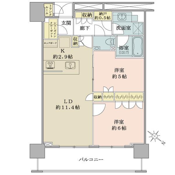 ブリリア ザ タワー東京八重洲アベニューの間取図/8F/7,680万円/2LDK+SIC/59.66 m²