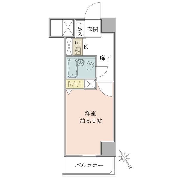 東建シティハイツ上野の間取図/3F/1,350万円/1K/19.51 m²