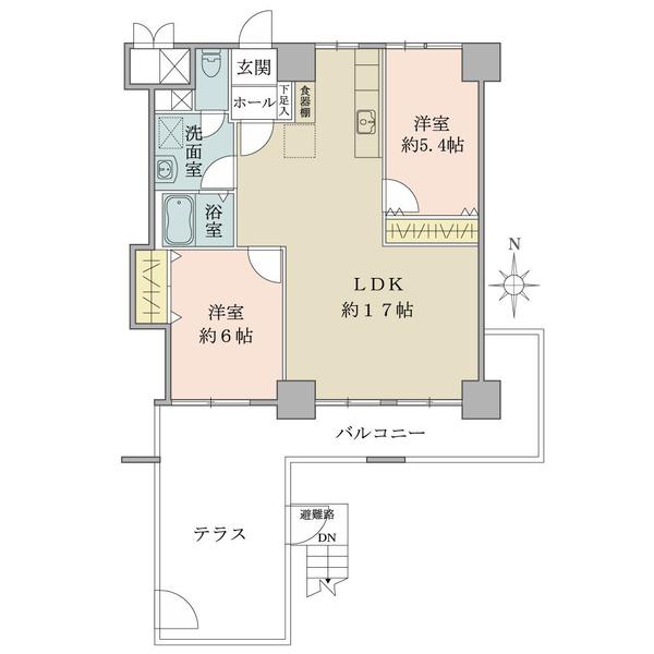 東建ニューハイツ九段の間取図/2F/4,980万円/2LDK/61.24 m²