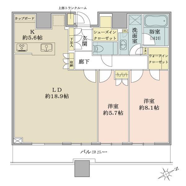 ブリリアタワーズ目黒 サウスレジデンスの間取図/34F/23,500万円/2LDK+WIC+SIC/86.92 m²