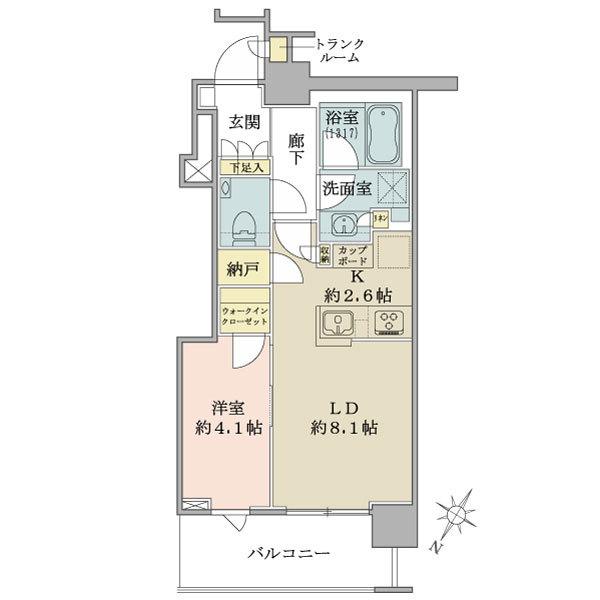 ブリリアザタワー東京八重洲アベニューの間取図/12F/5,980万円/1LDK+WIC/40.93 m²