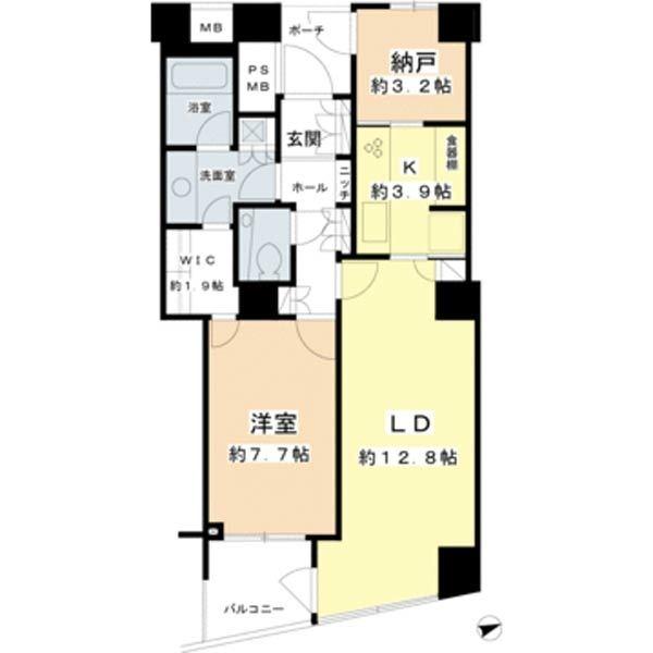 品川Vタワーの間取図/20F/8,990万円/1SLDK/65.31 m²