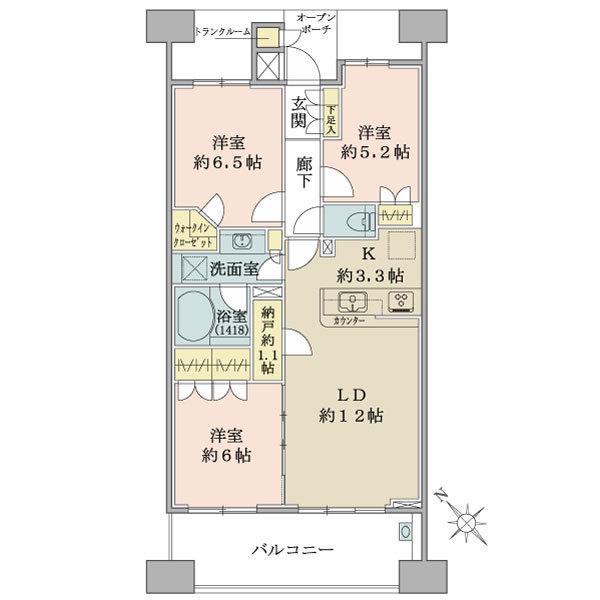 ブリリア大島小松川公園の間取図/17F/4,680万円/3LDK/73.35 m²