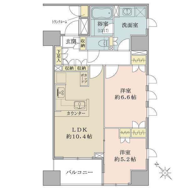 ブリリア銀座IDの間取図/5F/7,480万円/2LDK/56.54 m²