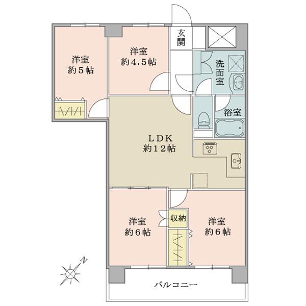東建金町マンションの間取図/2F/2,280万円/4LDK/71.52 m²