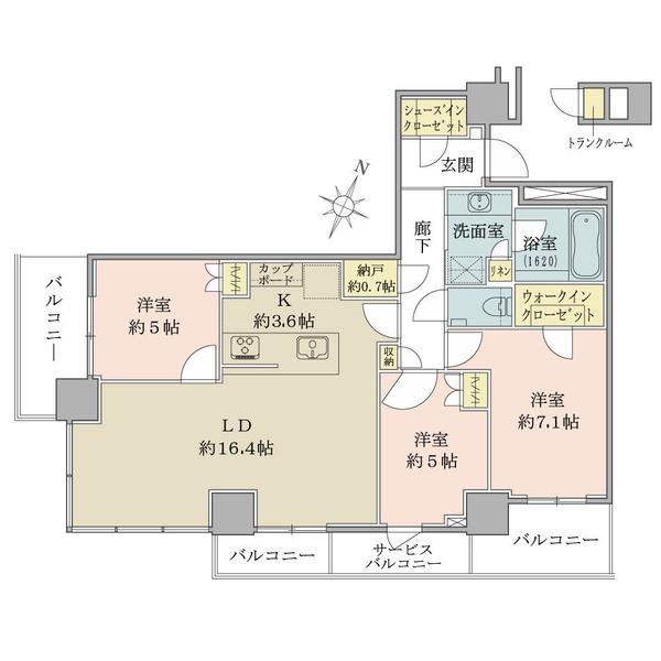 ブリリアザタワー東京八重洲アベニューの間取図/22F/14,380万円/3LDK+WIC+SIC/83.58 m²
