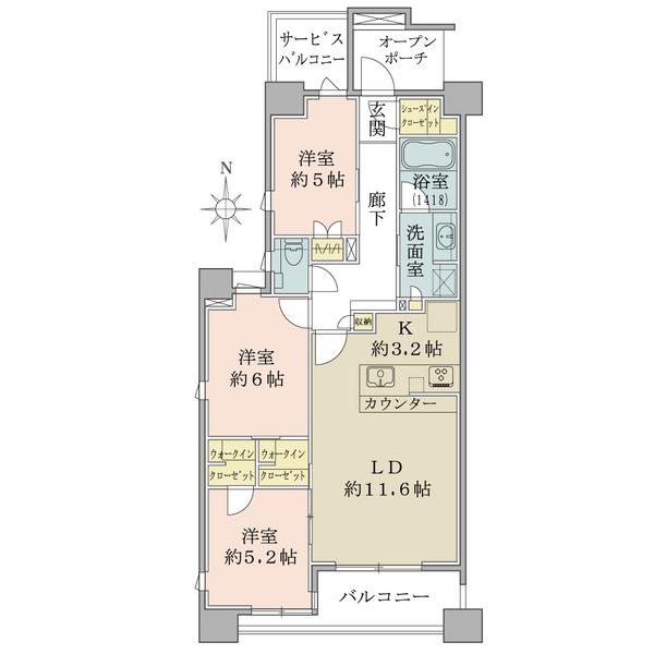 ブリリア千代田左衛門橋の間取図/4F/8,480万円/3LDK/72.67 m²