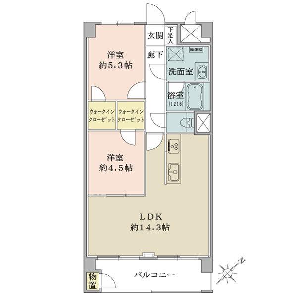 東建金町マンションの間取図/4F/2,490万円/2LDK/57.2 m²