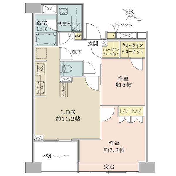 ブリリア日本橋浜町公園idの間取図/5F/5,880万円/2LDK+W+Sic/56.13 m²