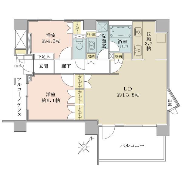 エスタガーデンの間取図/5F/5,780万円/2LDK/63.35 m²