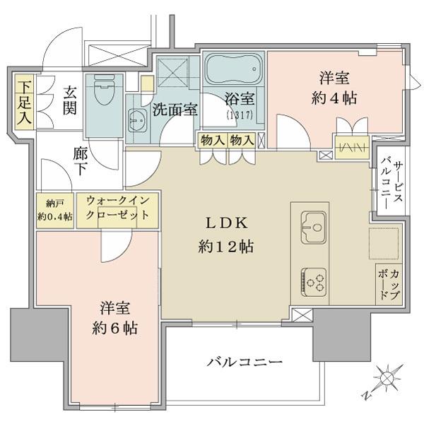 ブリリア上野ザ・レジデンスの間取図/14F/6,940万円/2LDK/52.08 m²