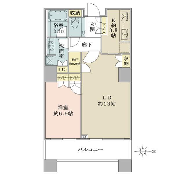 ブリリアタワー東京の間取図/7F/6,430万円/1LDK/58.34 m²