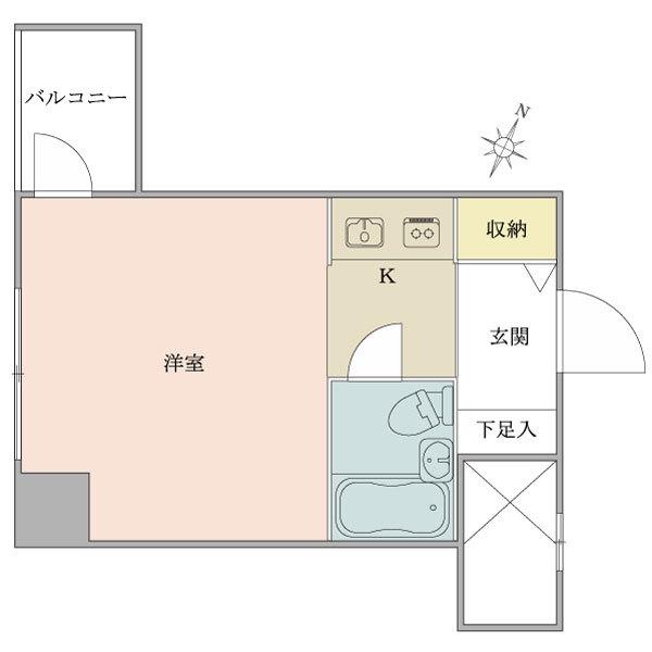 ニューシティハイツ飯田橋の間取図/6F/1,580万円/1R/19.52 m²