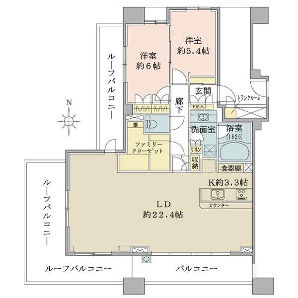 ブリリア品川中延の間取図/8F/9,600万円/2LDK/88.19 m²