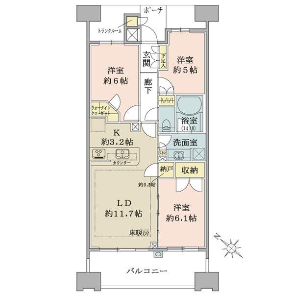 ブリリア大島小松川公園の間取図/20F/4,780万円/3LDK/70.62 m²