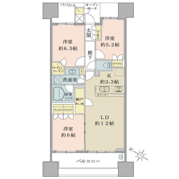 ブリリア大島小松川公園の間取図/20F/5,180万円/3LDK/73.35 m²