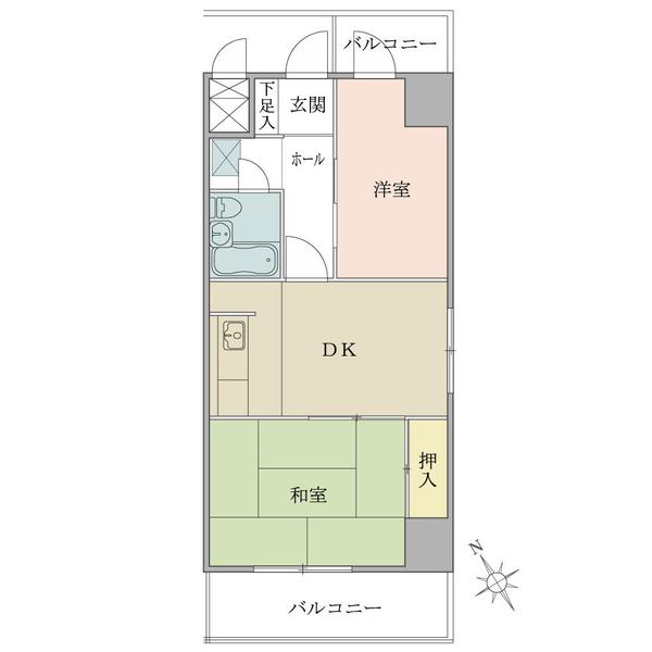 ニューハイツ八丁堀の間取図/9F/2,500万円/2DK/40.5 m²