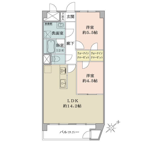 東建金町マンションの間取図/13F/2,490万円/2LDK/57.28 m²
