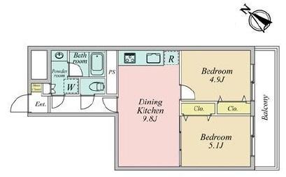 東建金町マンションの間取図/5F/1,780万円/2DK/46.82 m²