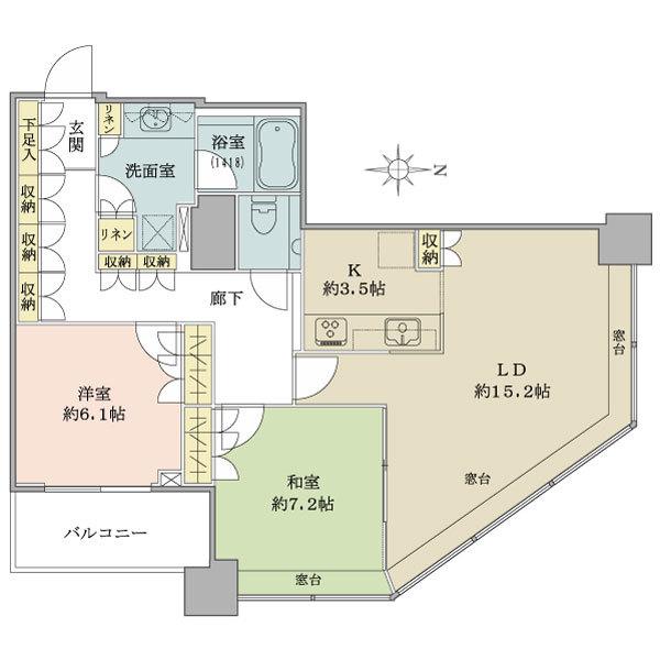 ブリリアタワー東京の間取図/26F/9,380万円/2LDK/80.4 m²