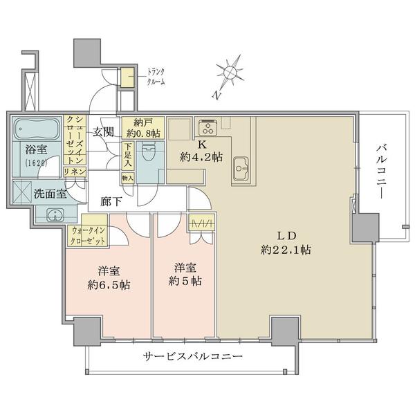 ブリリアザタワー東京八重洲アベニューの間取図/18F/12,980万円/2LDK+WIC+SIC/83.33 m²