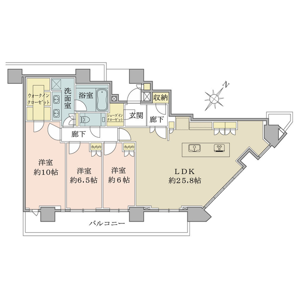 ブリリアザタワー東京八重洲アベニューの間取図/28F/23,500万円/3LDK+WIC+SIC+N/111.01 m²