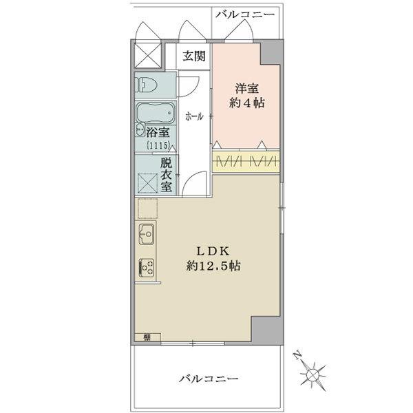ニューハイツ八丁堀の間取図/9F/3,380万円/1LDK/40.5 m²