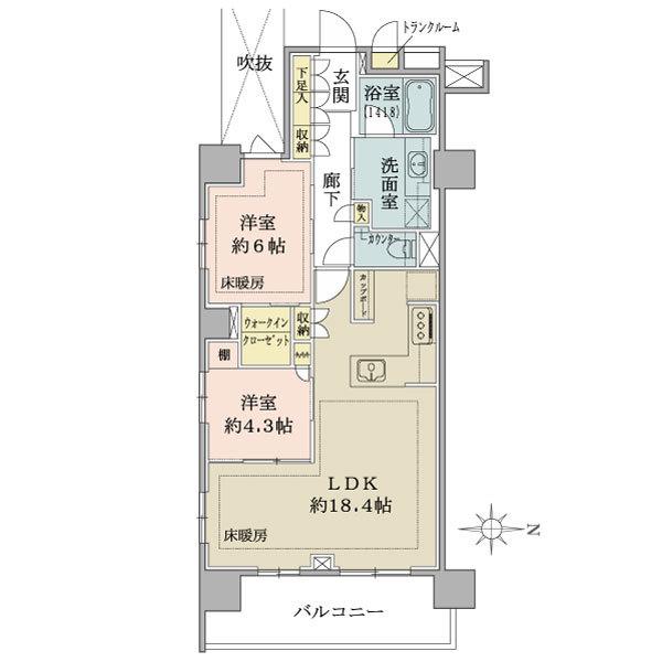 ブリリア浅草橋の間取図/10F/6,600万円/2LDK+WIC/68.31 m²