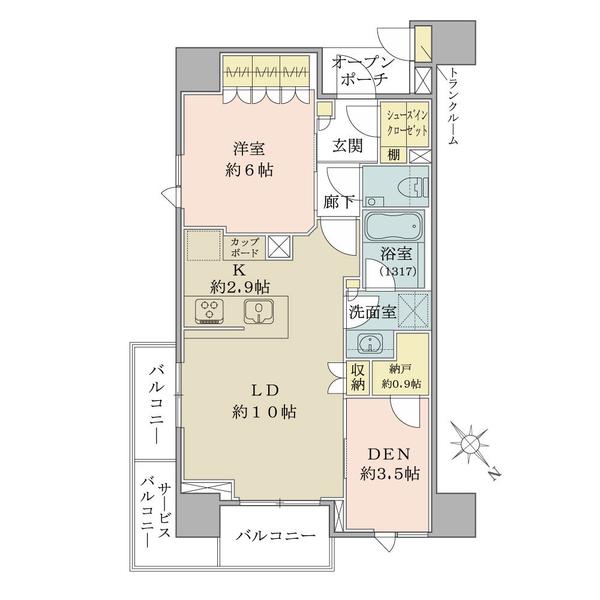 ブリリアザレジデンス東京八重洲アベニューの間取図/6F/6,850万円/1LDK+DEN/54.59 m²
