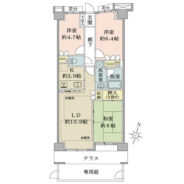 アールヴェール亀戸の間取図/1F/4,270万円/3LDK/67.17 m²
