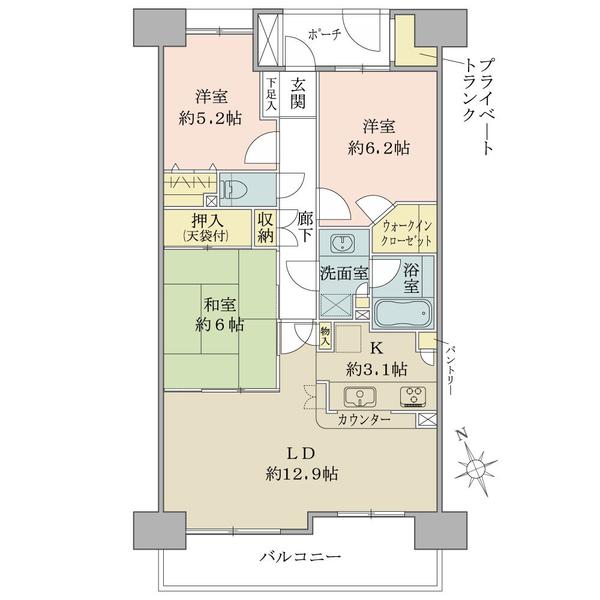 ヴェールガーデン富士見台 の間取図/8F/4,780万円/3LDK+W/75.69 m²