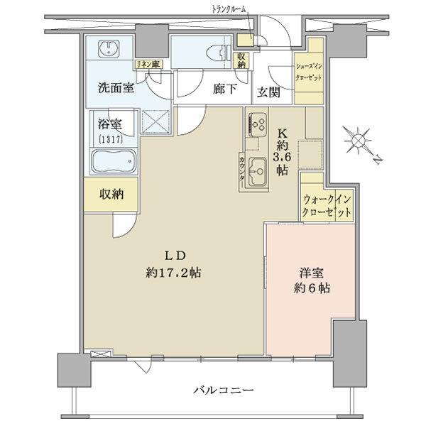 ブリリアザタワー東京八重洲アベニューの間取図/2F/7,580万円/1LDK+N/64.1 m²