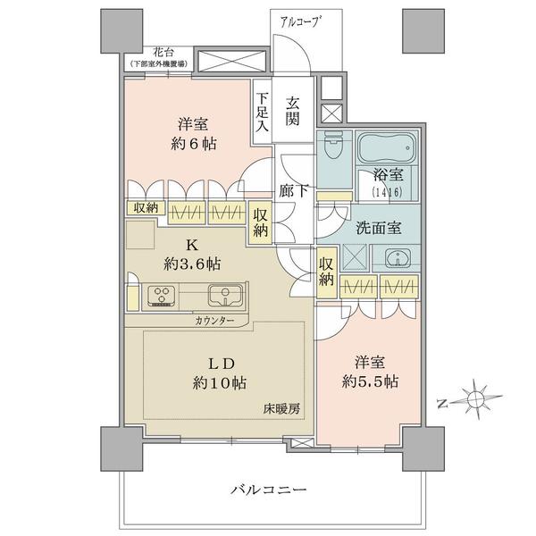 ブリリアタワー品川シーサイドの間取図/16F/3,680万円/2LDK/58.85 m²